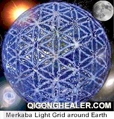 Merkaba Light Grid around Earth